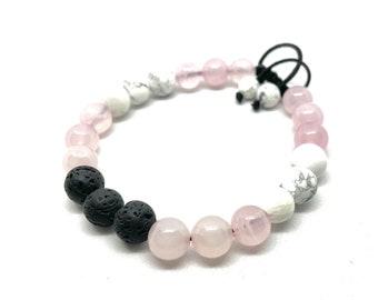 Rose Quartz White Howlite Jasper and Lava Stone Gemstone Bracelet Essential Oil, Unisex Beaded Aromatherapy Bracelet