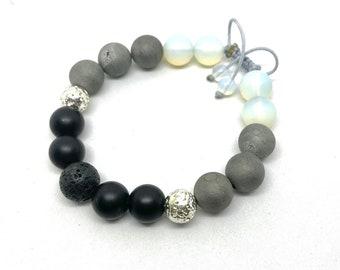 Druzy Agate Opalite Matt Black Onyx and Lava Stone Aromatherapy Gemstone Ajustable Nylon Cord Bracelet