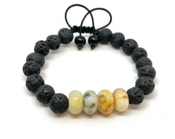 Crazy Agate and Lava Stone Gemstone Aromatherapy Braided Bracelet, Unisex Aromatherapy Essential Oil Gemstone Bracelet