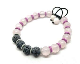 Rose Quartz and Lava Stone Aromatherapy Gemstone Essential Oil Bracelet, Unisex Beaded Aromatherapy Bracelet