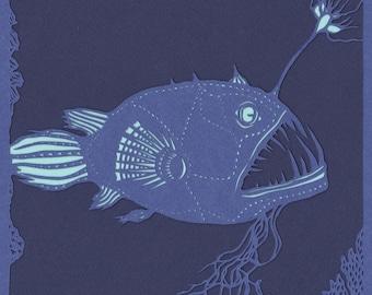 Anglerfish papercut. 'Anglerfish'. Print from an original handmade papercut.