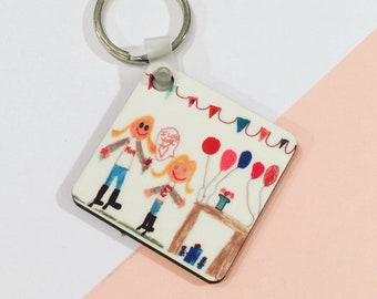 Personalised mdf keyring : your childs own artwork drawing