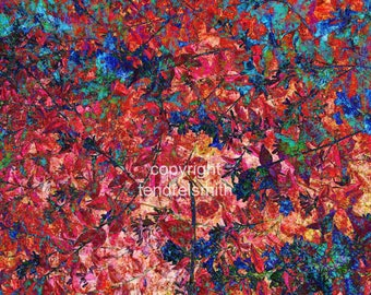 Wall art, glossy print, red and blue leaves