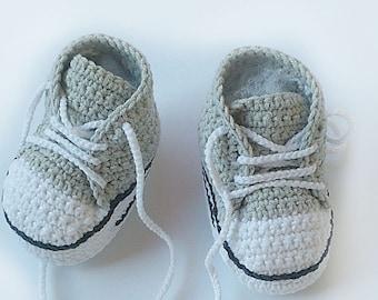 Light grey Crochet baby sneakers 5acebb584