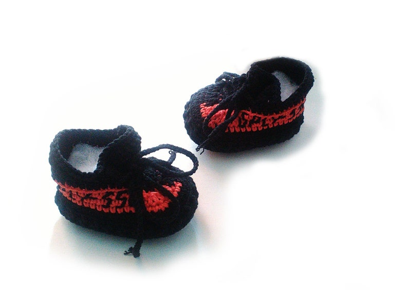 832a605295b2 New design Crochet baby Black and red yeezy booties Yeezy