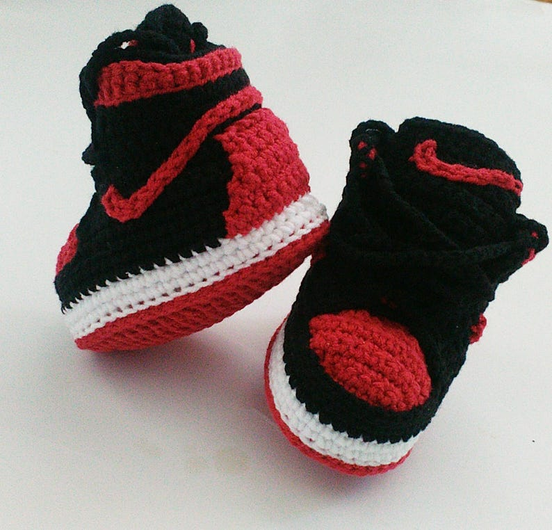 c83f8c41b5fe Crochet baby Jordan sneakers Baby shoes Inspired Jordan