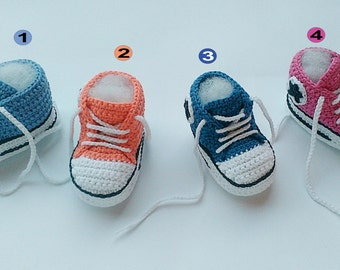 Crochet Baby shoes, Baby sneakers, Converse crochet shoes, Baby booties, crochet slippers, toddler shoes
