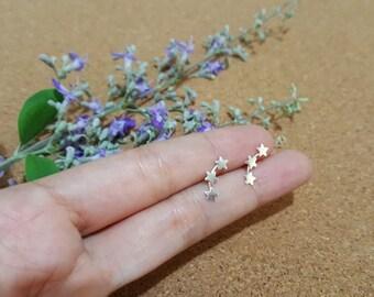 Triple Star Silver Earrings - Tiny Star Earrings - 3 Star Stud Earrings - Star earrings - Star jewelry - Gift for her - 3 Stars - Ear jacket