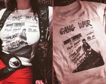 Made To Order Thin Distressed Johnny Thunders Wayne Kramer Gang War 77 Punk Poster Flyer White Transfer Band T Shirt Worn MC5 Heartbreakers