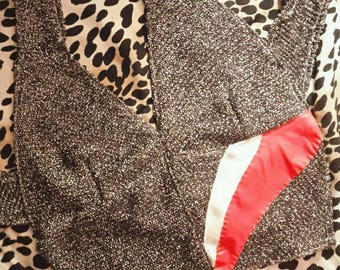Made To Order 70's Glam Gun Metal Silver Glitter Cropped Halter Top With Red And Nude Leather Satin Detail
