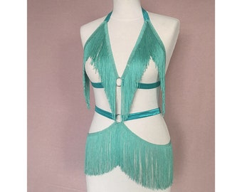 Burlesque Shimmy Cage Harness Bra and Belt Skirt Mint
