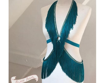 Burlesque Shimmy Fringe Cage Harness Onepiece Teal