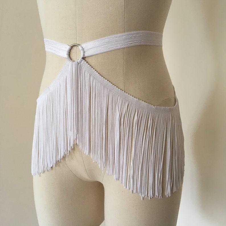 Fringe Belt Skirt White Burlesque Shimmy Fringe Cage Bra