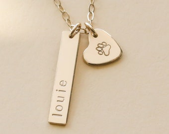 Pet remembrance necklace, dog necklace personalized, dog jewelry, paw print necklace, pet memorial necklace, paw necklace, NP-1X20BR-39HRT