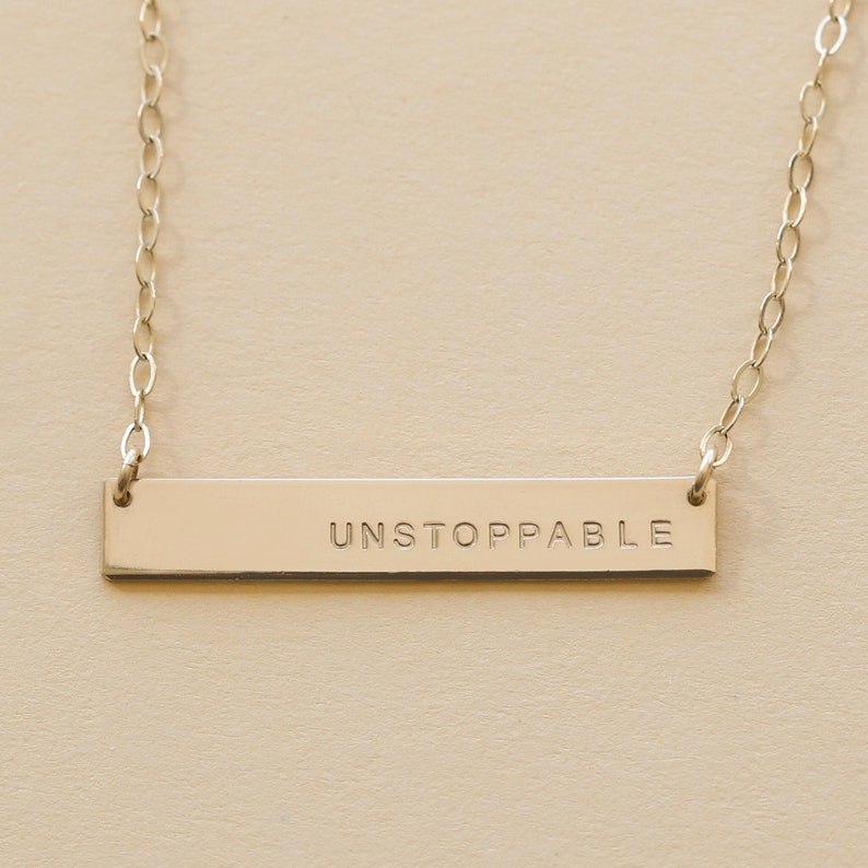 Inspirational necklace. Bar necklace. Gold bar necklace. image 0