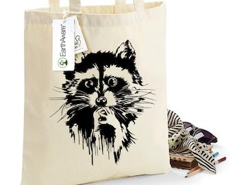 Oh So Cute Racoon Organic Cotton Tote Bag, Shopping Bag, Choice of 8 Print Colours, 1083
