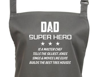 Dad Super Hero Apron Personalised Add His Super Powers. 23 Colours, Large Pocket, Adjustable Neck Strap, Vibrant Print Won't Fade(Ref 1141)