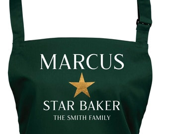 Mens Personalised Star Baker Apron With Pocket / Choice of 22 Colours  (Ref: 1283)