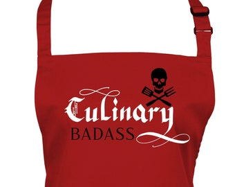 Mens Culinary Badass  Apron With Pocket/ Choice of 3 Colours          (Ref: 1295)