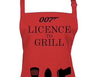 Licence to Grill 007 Apron. 21 Colours To Choose From.  (Ref: 1176)