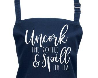 Funny Bridgerton Apron Spill The Tea in a  Choice of 22 Apron Colours        (Ref: 1301)
