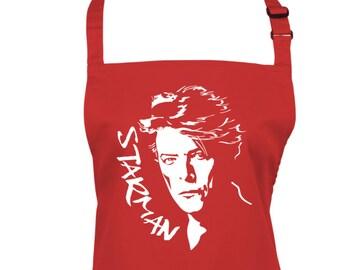 David Bowie Silhouette Starman Apron with Pocket, Ziggy Stardust, Kitchen & BakingApron, Choice of 9 colours, 1075