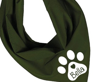 Personalized Dog Bandana With Name in Paw Print. Choice of 15 Colours. The Perfect Doggy Gift. 1062