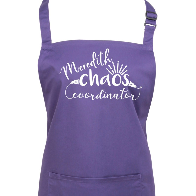 Personalised Chaos Coordinator Apron. 23 Colours Large image 0