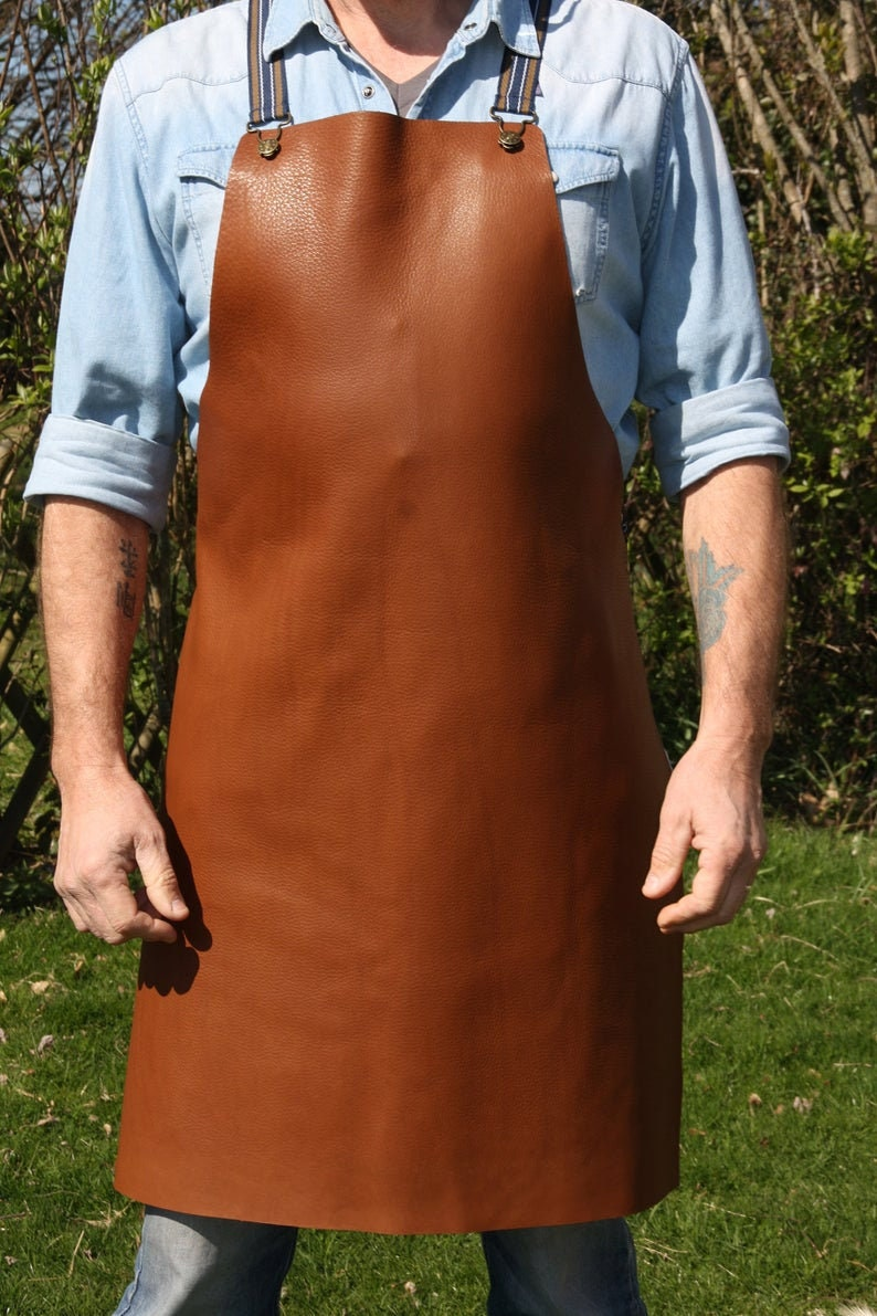 Luxury Hand Made Full Grain Leather Apron With Cross Over image 0