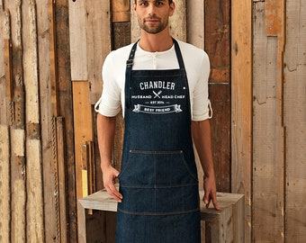 Custom Denim Apron. A Unique & Thoughtful Gift for Huband Wife Friend  (Ref: 1171)