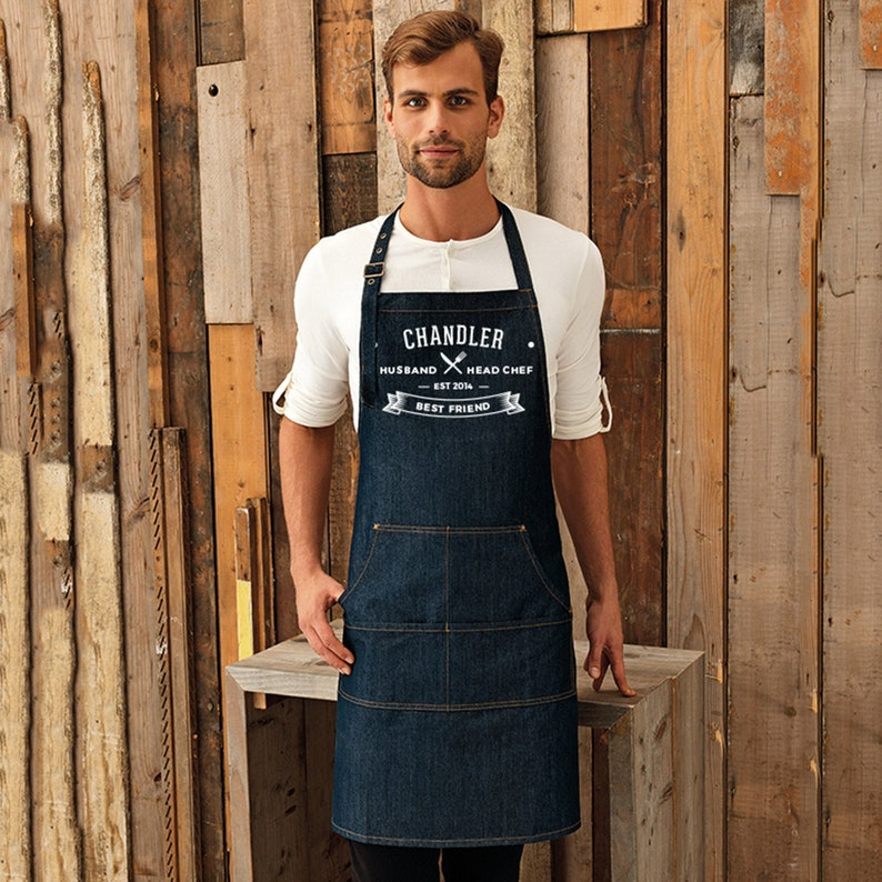 Personalised Denim Apron. Unique & Thoughtful Gift For Your image 0