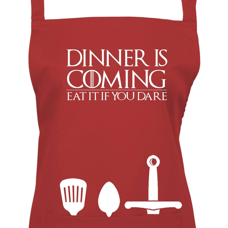 Dinner is Coming Apron  Eat It If You Dare 23 Colours Ref image 0