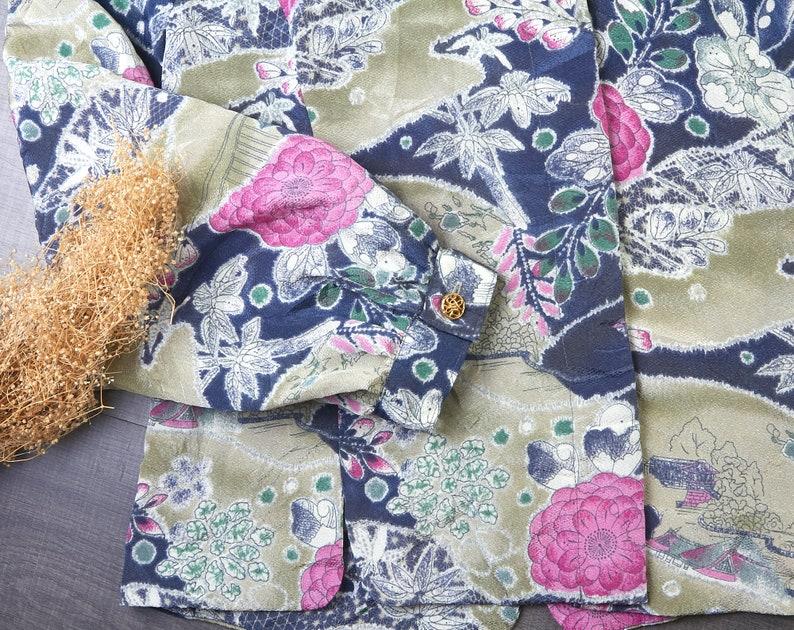 Women/'s vintage clothing 60/'s women vintage floral printed blouse Long sleeve blouse Vintage  blouse