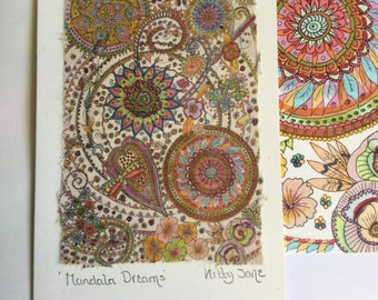 Boho Mandala Greeting Card Zentangle Birthday Spiritual Art Handmade Indian Ethnic Any Occasion For Yoga Lover