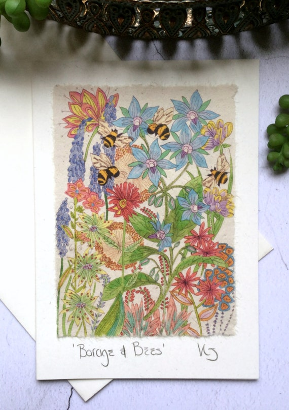 Borage /& Bumble Bee Sustainable Wood Greeting Card