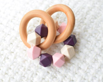 Teething Ring Maple Wood Baby Teether Pink Baby Teething Ring Baby Teething Toy, Baby Teether, Baby Shower, Gift for Baby