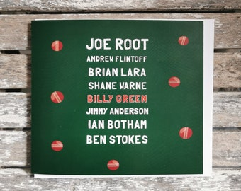 Personalised  Birthday Card Cricket Lovers Famous Cricket Players