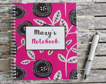 Bold Floral Design Personalised Notebook Pink, Orange, Green, Turquoise, Purple