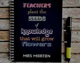 Rainbow Typographic Seeds of knowledge Personalised Notebook. Thank You Teacher Gift. A5 Plain or lined pages. Black or white cover.