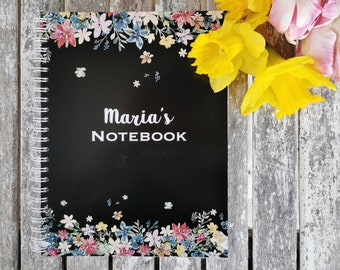 Black  with Floral Design Personalised Notebook