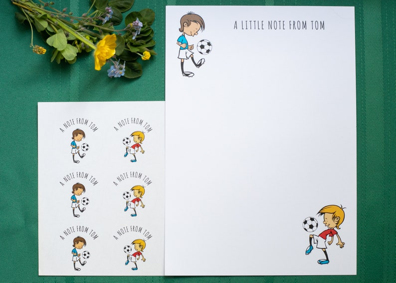 Personalised Football Writing Set/Notepaper with stickers image 0