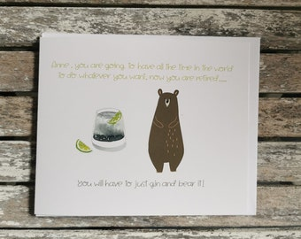 Personalised Gin and Bear It Retirement Card.
