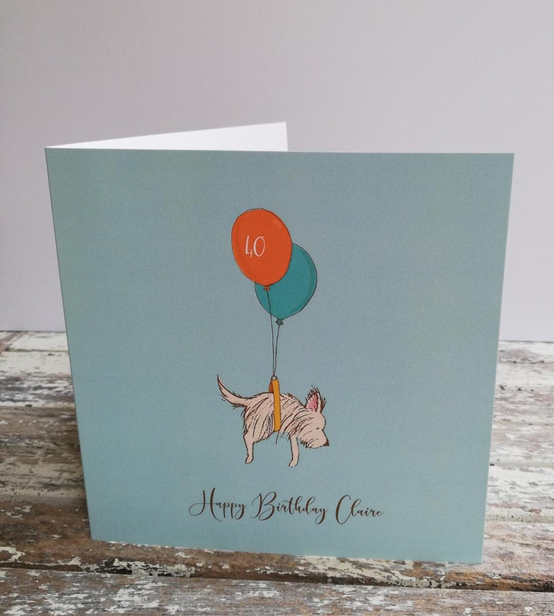 Cute Dog & Balloon Personalised  Birthday Card. 1st 16th 18th image 0