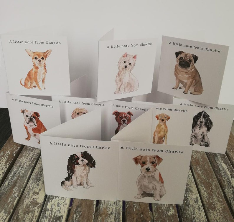 Personalised Dog Note Cards x King Charles Spaniel image 0