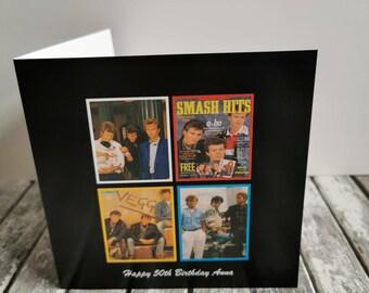 Aha  Personalised Birthday Card Retro Smash Hits 80's