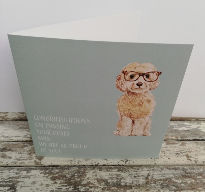 Dog Congratulations Personalised Card A levels GCSES Highers image 0