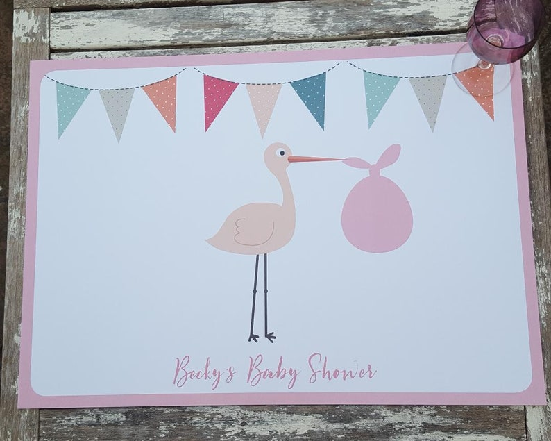 Personalised Paper Placemats Baby Shower/Gender Reveal party image 0