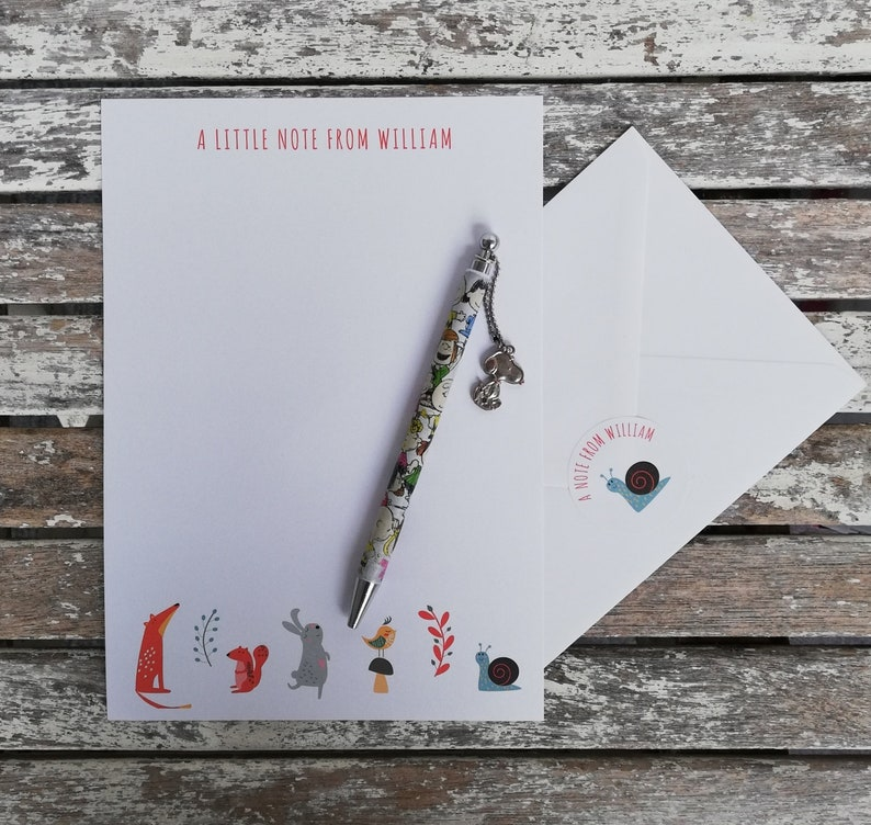 Personalised Animals Notepaper/Writing Set with stickers Thank image 0