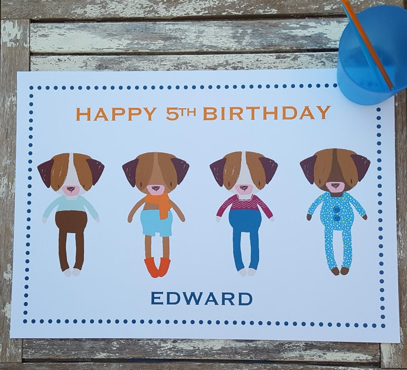 Personalised Dogs Paper Placemat Children's Birthday Party image 0