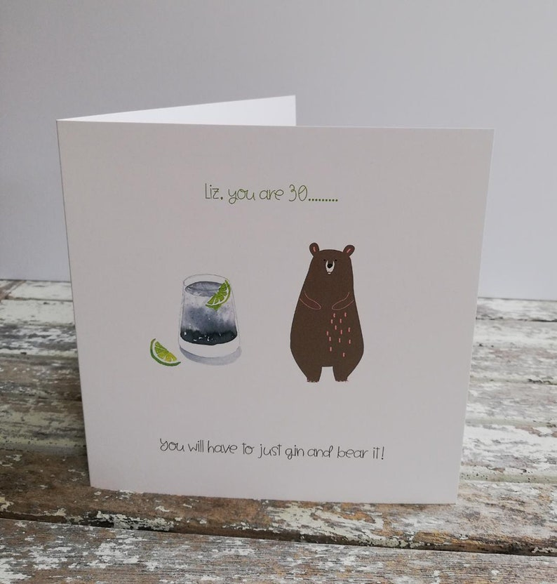 Personalised Gin and Bear It Birthday Card 30th 40th 50th 60th image 0